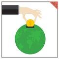 Money world set global vector earth illustration philanthropy Royalty Free Stock Photo