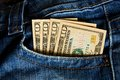 Money in your pocket ten dollar bills the of jeans Royalty Free Stock Image
