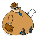 Moneybags rich man fat cat isolated illustration cartoon Stock Image