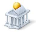 Moneybox del â della costruzione della Banca Immagini Stock Libere da Diritti