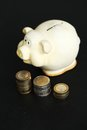 Moneybox finance piggy on the table Royalty Free Stock Images
