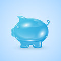 Moneybox glassy in the form of pig on blue background illustration Stock Photography