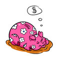 Moneybox pig puddle dream of money cartoon illustration Royalty Free Stock Images