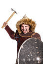Mongol warrior in armour horde holding traditional axe Royalty Free Stock Image
