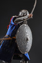 Mongol warrior in armour Royalty Free Stock Photo