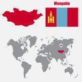 Mongolia map on a world map with flag and map pointer. Vector illustration