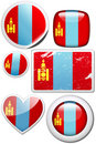 Mongolia - Set of stickers and buttons Royalty Free Stock Images