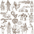Mongolia travel collection of an hand drawn illustrations description full sized hand drawn illustrations drawing on white Royalty Free Stock Photography