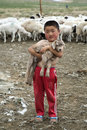 Mongolian boy holding baby goat a holds a Royalty Free Stock Photo