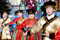 Mongolian dancers at Shrovetide Royalty Free Stock Photos
