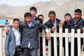 Mongolian schoolboys Stock Photo
