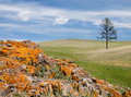 Mongolian steppe with colorful rocks Royalty Free Stock Photography