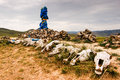 Mongolian stone shrine for travelers Royalty Free Stock Photography