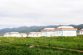 Mongolian tent on grassland Stock Photography