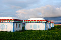 Mongolian tent on grassland Royalty Free Stock Images