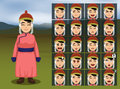 Mongolian Woman Cartoon Emotion faces Vector Illustration Royalty Free Stock Photo