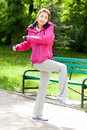Mongolian woman during morning training in a park Stock Photos