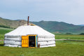 Mongolian yurt on steppe called a ger grassy of northern mongolia Stock Photo