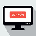 Monitor with Button Buy Now. Concept of Online Shop. Royalty Free Stock Photo