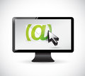 Monitor email and cursor illustration design over a white background Stock Photography