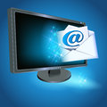 Monitor and envelope with paper with e mail sign Royalty Free Stock Image