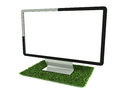 Monitor on grass right side view Stock Photos