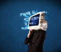 Monitor head person with hacker type of signs on the screen blue Stock Photos