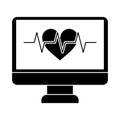 Monitor heartbeat cardiology rhythm pictogram