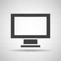 Monitor icon with shadow on a gray background. Vector illustration