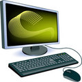 Monitor with keyboard and mouse Stock Photo