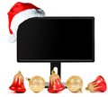 Monitor and Santa Claus hat Royalty Free Stock Photo