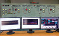 Monitors in a control room of a natural gas power plant Royalty Free Stock Photo