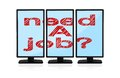 Monitors with need a job three computer Stock Images