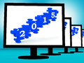 On monitors showing future resolutions or expectations Stock Image
