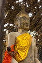 Monk care yellow robe of buddhist statue suphanburi thailand june in old chapel at wat sri rattana mahathat and temple built years Stock Image
