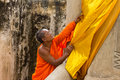 Monk care yellow robe of buddhist statue suphanburi thailand june in old chapel at wat sri rattana mahathat and temple built years Stock Photography