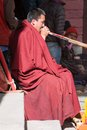 Monk celebrating during festival of Tengboche Monastery Royalty Free Stock Photo