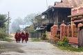 Monk at nyaung shwe in myanmar burmar group of Stock Image
