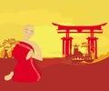 Monk prays in sunset Royalty Free Stock Photo