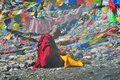 Monk are sreciting buddhist scriptures a reciting at zheduo mountain sichuan tibet Stock Images