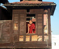 Monk at Window. Royalty Free Stock Image