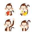 Monkey actions set animal action eating food objects Stock Image