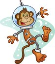 Monkey astronaut cartoon character in a space suit wearing and helmet floating zero gravity front of retro background Stock Photography