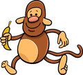 Monkey with banana cartoon illustration of funny Stock Images