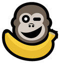 Monkey and banana creative design of Stock Photo