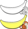 Monkey and banana shaped board Royalty Free Stock Images