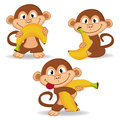 Monkey and banana vector illustration Royalty Free Stock Photos