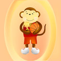 Monkey basketball player the main symbol of this vector illustration is keeps a and the cup of victory Stock Photos