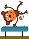 Monkey on a beam funny illustration of doing gymnastics Stock Image