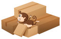 A monkey and boxes illustration of on white background Royalty Free Stock Image